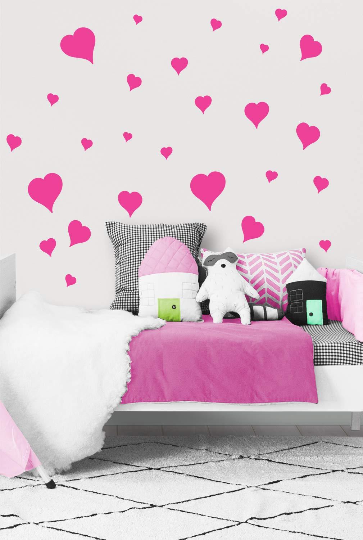 Hearts Vinyl Stickers Baby Girl Room Vinyl Decals Heart Wall Decals Kids Room