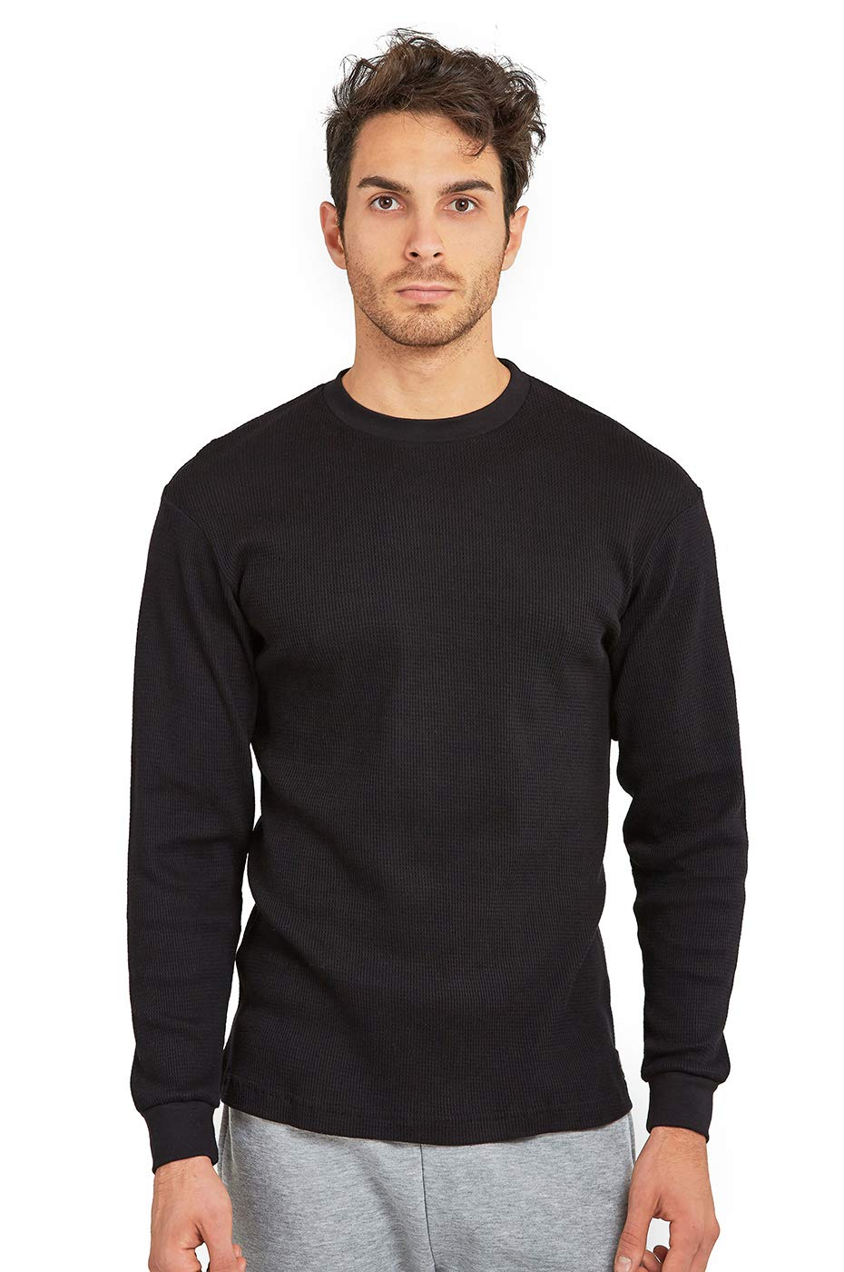 Men's Classic Waffle-Knit Heavy Thermal Top (XL, Black) by Cottonbell