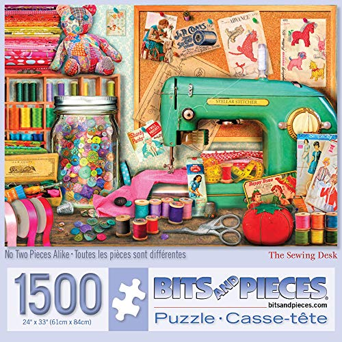 Bits and Pieces - Sewing Desk 1500 Piece Jigsaw Puzzles for Adults - Each Puzzle Measures 24