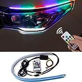CoCsmart Flexible Car LED Strip Light, 2 Pcs 24 Inches RGB Multi Color Daytime Running Lights, Waterproof Car Headlight…