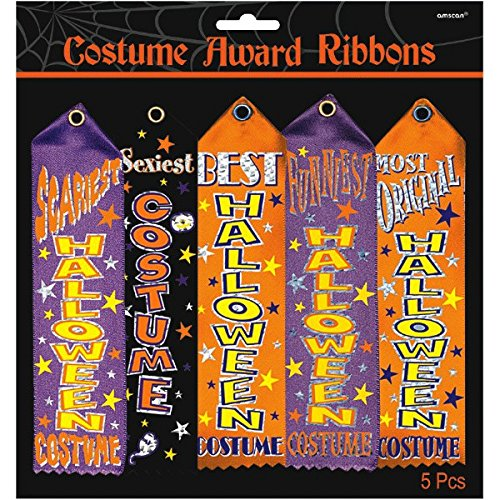 Amscan Halloween Trick or Treat Party Assorted Costume Award Ribbon, Pack of 5.