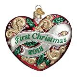 2018 First Christmas Heart Glass Blown Ornament