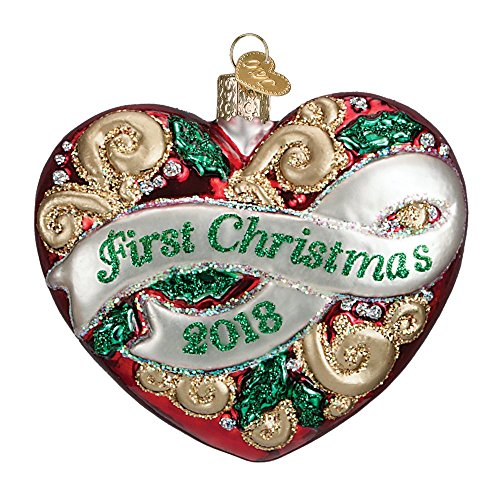 2018 First Christmas Heart Glass Blown Ornament by Old World Christmas