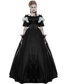 7c7a24364e4 Punk Rave Gothic Wedding Dress Long Black Steampunk VTG Victorian Prom  Ballgown