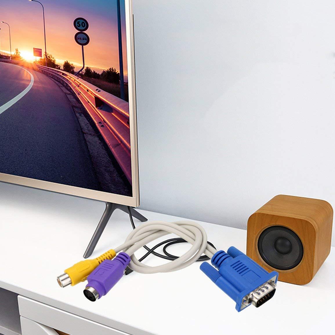 RCA Garciasia 15 Pin VGA SVGA a S-Video S-Video RCA Cable Adaptador convertidor para el Ordenador port/átil PC TV VGA Macho a S-Video