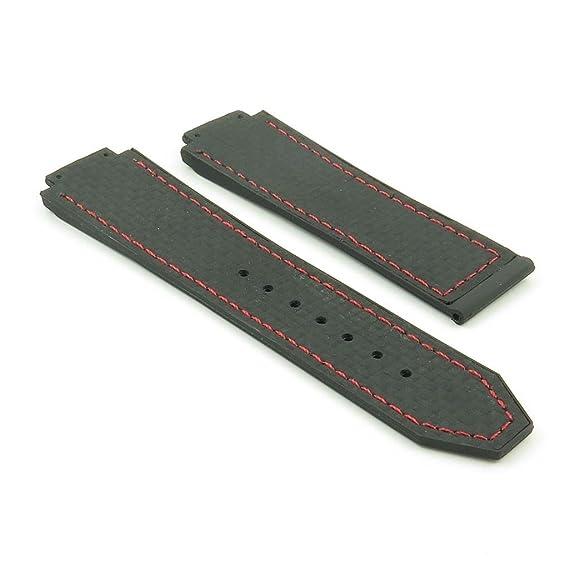be3b04f1882 DASSARI S5 Black w  Red Stitching Carbon Fiber   Rubber Watch Band for Hublot  Big Bang  Amazon.ca  Watches