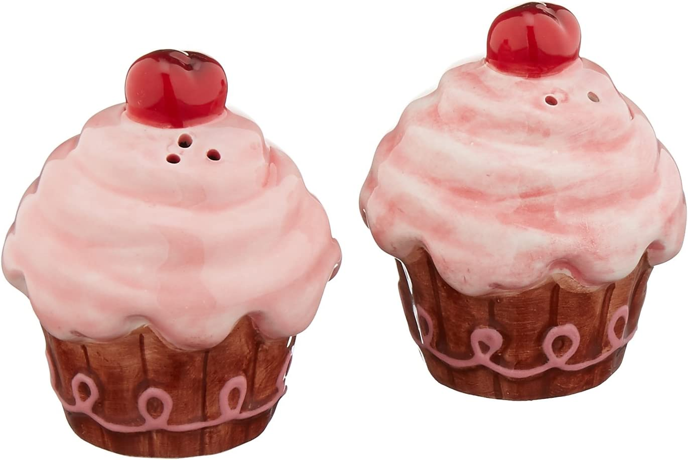 Appletree Design Life Is Sweet Pink Cupcake Salt and Pepper Set, 2-1/2-Inch