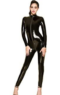 43c5d05f37 Womens Patent Leather Catsuit Teddy Clubwear Open Crotch Jumpsuits Sexy  Lingerie Zipper Corset Cosplay