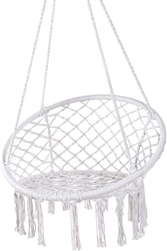 Y- STOP Hammock Chair Macrame Swing – Max 330 Lbs-Hanging Cotton Rope Hammock Swing Chair for Indoor and Outdoor Use White