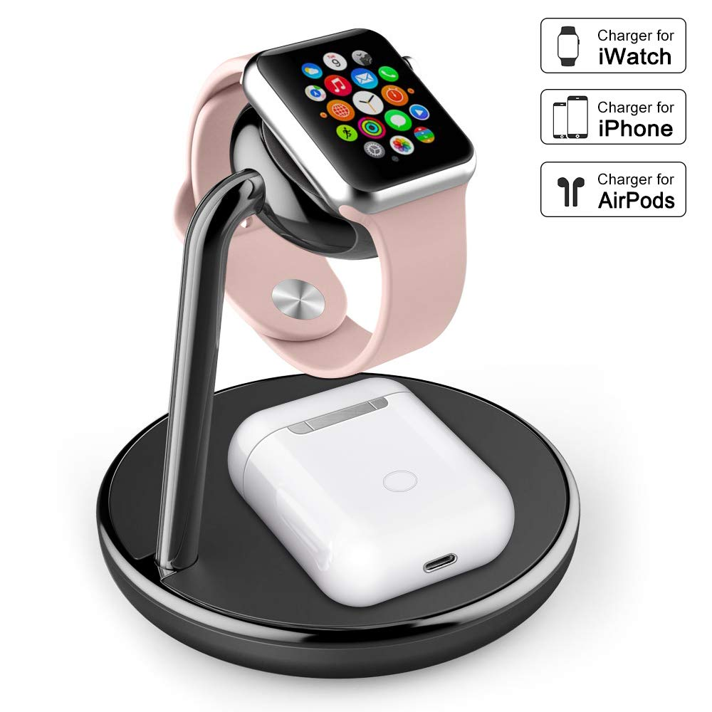 amBand Charger Compatible with Apple Watch Series 1/2/3/4, 2 in 1 Charging Stand Station Compatible with AirPods Wireless Charging Case, iPhone Xs/X Max/XR/X/8, Samsung Galaxy S10/S9/S9+/S8 by amBand