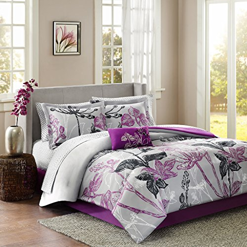 - MP Modern Contemporary Purple Girls Floral Comforter Bedding Set with a Decorative Pillow (Queen) Includes Scented Candle Tarts