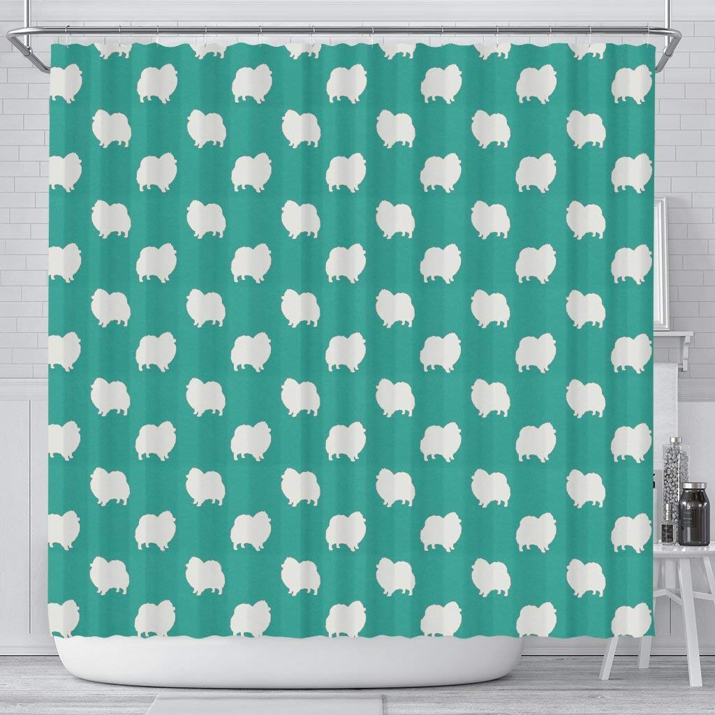 Breedink Pomeranian Dog Pattern Print Shower Curtains by Breedink