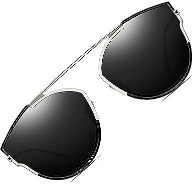 02ae104a3c ATTCL Women s 100% Polarized UV Protection Sunglasses Mirrored Flat Lenses  Fashion Metal Frame 556-