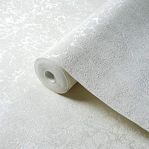 113 sq.ft roll Embossed Slavyanski Modern Plain wallcoverings Faux Cracked Plaster Effect Vinyl Non-Woven Wallpaper Ivory White Gold Glitter Metallic Textured strippable coverings Paste The Wall only ()