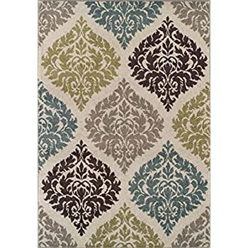 Super Area Rugs, Modern Transitional Damask Lanterns Rug, Ivory, 4ft. 11in.
