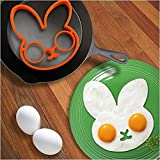 SmartTech Shop® Kitchen Cooking Tools Silicone Fried Egg Mold Ring, Black Skull, Purple Owl & Orange Rabbit, Set of 3
