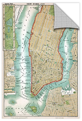 ArtWall 1ame014a3248p American School's Antique Map of Lower Manhattan and Central Park,1892