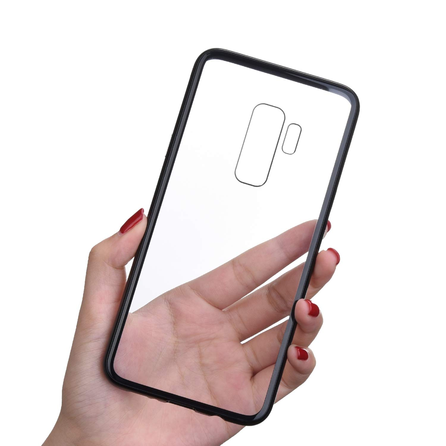 Felfy Compatible with Case Samsung Galaxy S9 Plus Glass Back Cover
