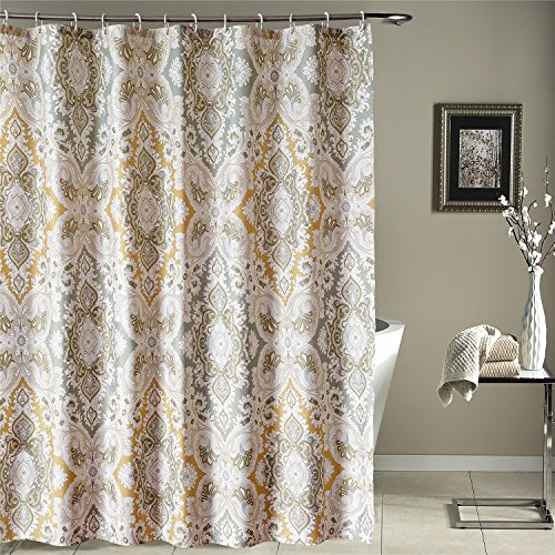 NEW LanMeng Fabric Shower Curtain Classic Paisley Design Grey Beige Light Brown