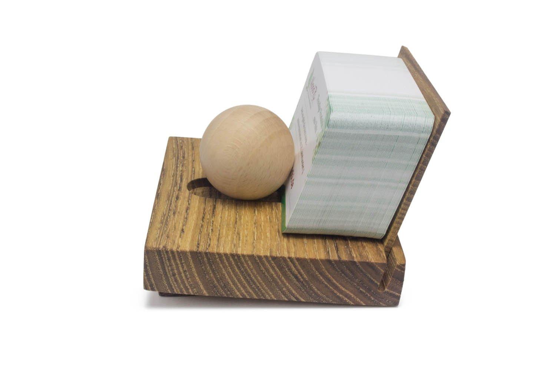 WoodBi Zettelbox Kartenst/änder Visitenkartenbox aus Akazie VisitenkartenhalterYMIR aus Holz mit Holzkugel mit R/ücken aus Milchglas