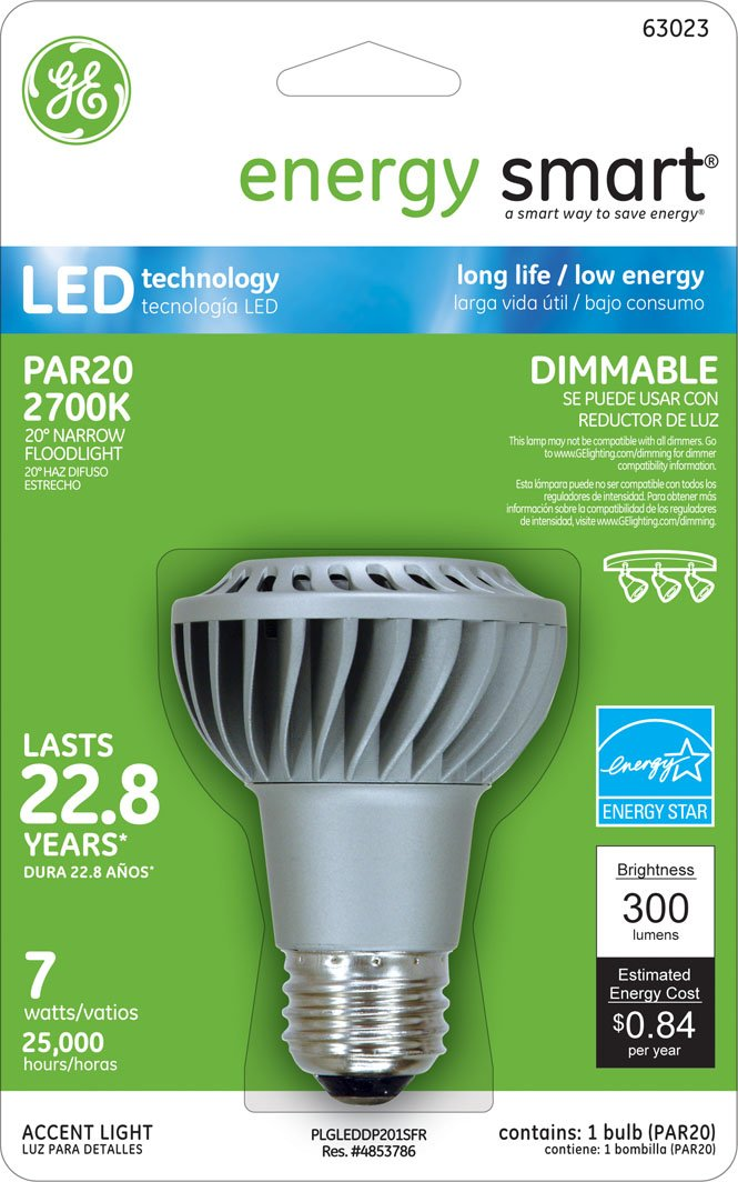 GE Lighting 75353 Energy Smart LED 7-Watt (50-watt replacement) 200-Lumen PAR20 Floodlight Bulb with Medium Base, 1-Pack - Led Household Light Bulbs ...
