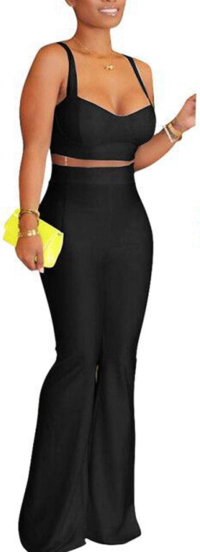 Stylish Women Spaghetti Strap Tops Long Wide Legs Bell Bottoms Pants Summer 2pcs