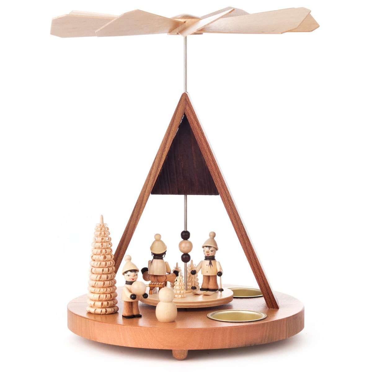 Winter Sports German Pyramid Tealight - Christmas Carousel - 10 Inches Tall