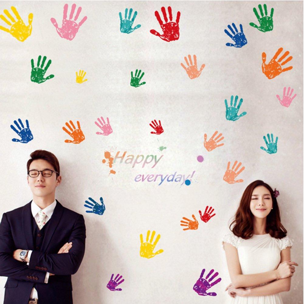 Kids Wall Art Sticker Set 26pcs Hands Handprints DIY Wall Decor Decals Happy Everyday Ideemoor IM045-A