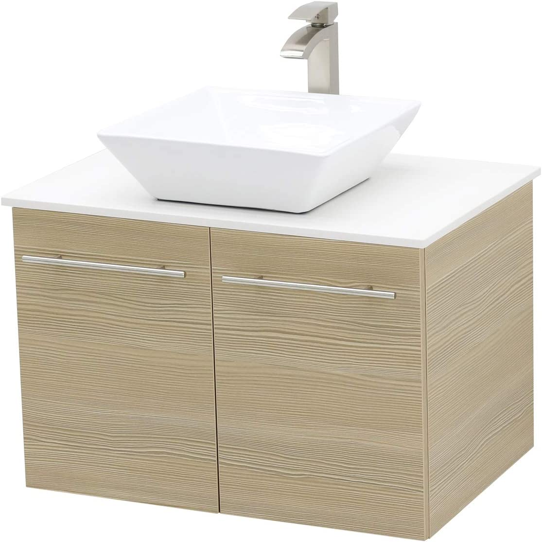 WindBay Wall Mount Floating Bathroom Vanity Sink Set. Tan Vanity, White Flat Stone Countertop Ceramic Sink – 30