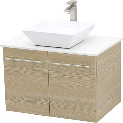 WindBay Wall Mount Floating Bathroom Vanity Sink Set. Tan Vanity