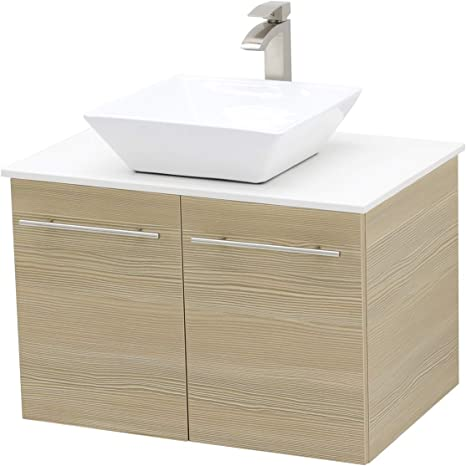 Amazon Com Windbay Wall Mount Floating Bathroom Vanity Sink Set Tan Vanity White Flat Stone Countertop Ceramic Sink 30 Kitchen Dining