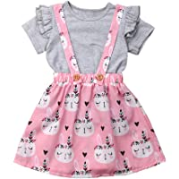 b5502f2ddc8 Easter Day Toddler Baby Girls Clothes Ruffle Sleeve T-Shirt Tops+ Bunny  Overall Skirt Set