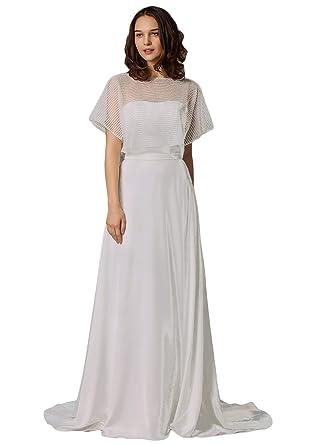 fce54cb533 Women's Chiffon Simple Wedding Dress for Bridal A-line Beach Wedding Dress