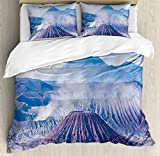 Volcano King Size Duvet Cover Set by Ambesonne, Bromo Batok and Semeru Volcanoes Java Island Indonesia Magma Activity, Decorative 3 Piece Bedding Set with 2 Pillow Shams, Light Blue Mauve White