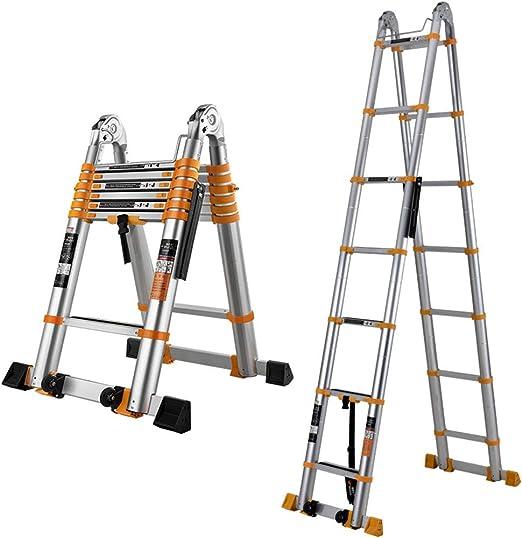 LJSJT Escalera Telescópica Escalera de 7 Pasos Altura Ajustable Junta Grande de 40mm Pedal Antideslizante Marco de aleación de Aluminio Peso del rodamiento 150kg Escalera Tipo A Altura 3.3m: Amazon.es: Hogar