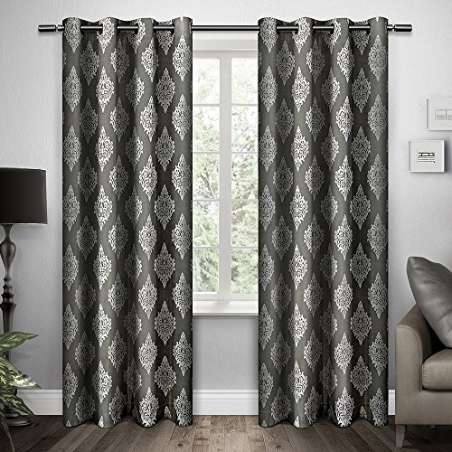 Exclusive Home Damask Print Grommet Top Window Curtain Panels 54″ X 96″, Black pearl, Set of 2 / Pair