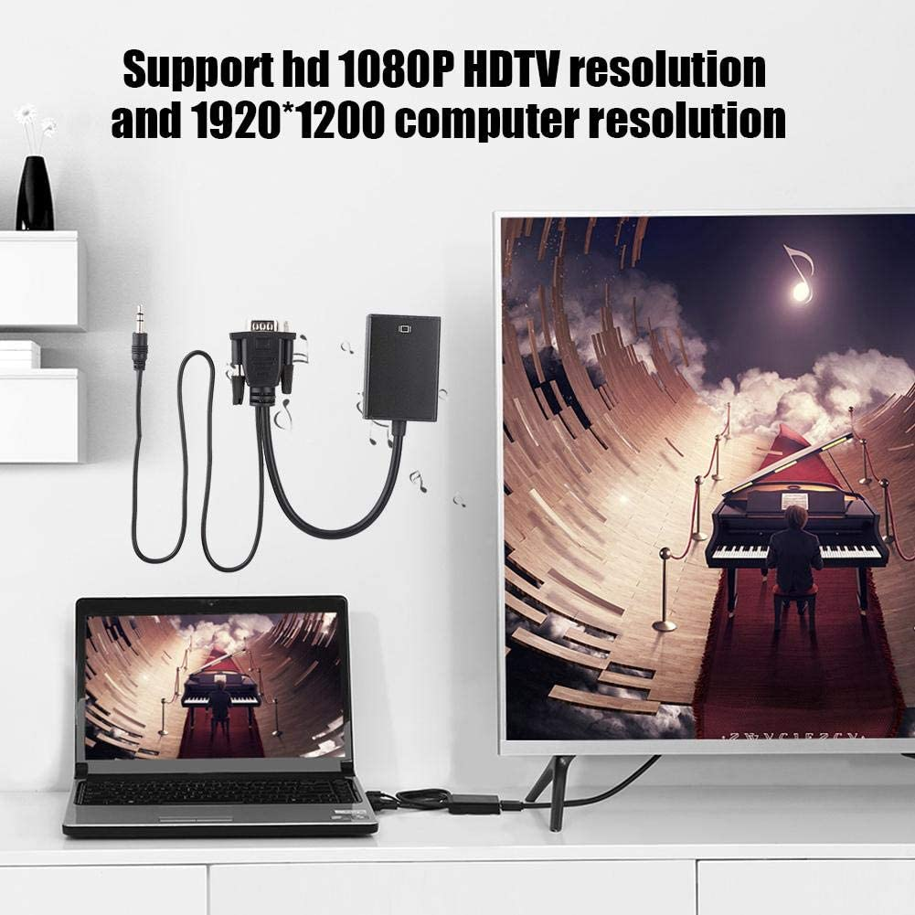 1200 Computer Resolution 3D Compensation Technology VGA to HDMI Converter Cable with Audio for Projector PC HDTV 1080P Support hd 1080P HDTV Resolution and 1920