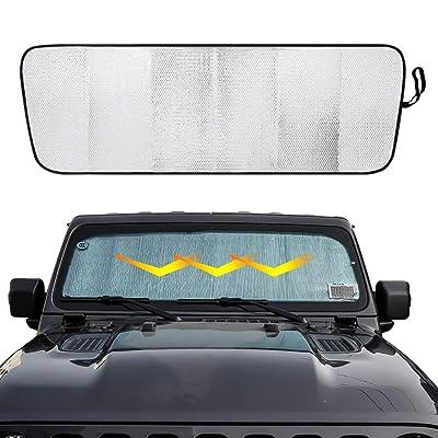 BORDAN Front Windshield Sunshade Car Sun Shade Heat Shield Sun Visor Mat for 2020 2020 Jeep Wrangler Rubicon Sahara JL JLU Interior Accessories: Automotive [5Bkhe2005085]