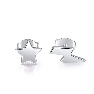 9e729f732 MONBO Sterling Silver Lightning Bolt Earrings Thunder Flash Ear Studs for  Woman Girl Teenager