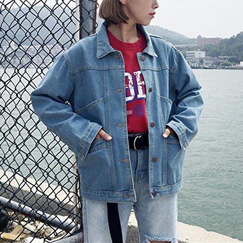 Giubbino Donna Parka Giacca Jeans Di Chiaro Giacche Giubbotto Denim Eleganti Azzurro qIq8wrH