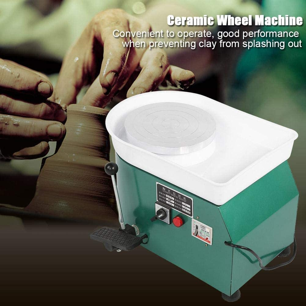 Green 350W Electric Pottery Wheel Throwing Wheel with Adjustable Feet Lever Pedal and Detachable Basin for Ceramic Work Ceramics Clay Pottery Wheel US Plug 24CM Pottery Forming Machine