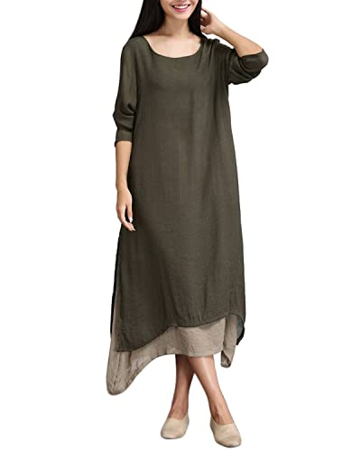 ZANZEA Ladies Cotton Linen Round Neck Two-layer A-line Baggy Vintage Long Maxi Dress