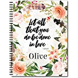 Done in Love Personalized Religious Spiral Notebook / Journal, 120 College Ruled or Checklist Pages, durable laminated cover, and wire-o spiral. 8.5x11 | 5.5x8.5 | Made in the USA