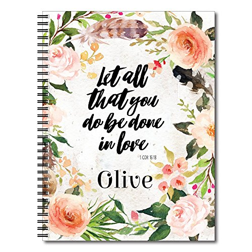 Done in Love Personalized Religious Spiral Notebook / Journal, 120 College Ruled or Checklist Pages, durable laminated cover, and wire-o spiral. 8.5x11 | 5.5x8.5 | Made in the (Covered Journal)