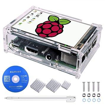 Kuman Raspberry Pi Pantalla Táctil TFT LCD de 3,5 Inch Pantalla LCD Resolución 320 * 480 con Estuche Protector + 3 x Disipadores de Calor + Lápiz ...
