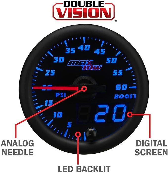 MaxTow 52mm Black /& Blue Double Vision Volt Gauge MT-BDV05