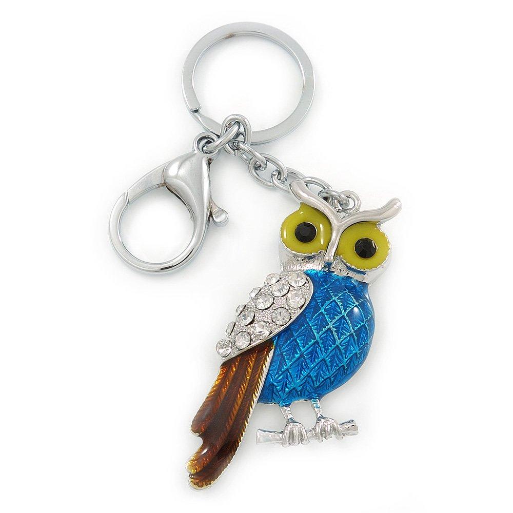 Rhodium Plated Multicoloured Enamel Crystal Owl Keyring Bag Charm 11cm Length Accessories Keyrings Keychains