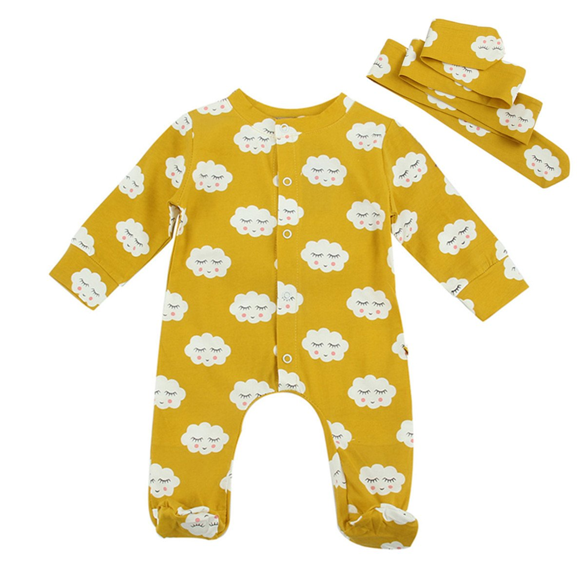 puseky Neugeborene Baby Langarm Strampler Overall mit F/ü/ßen Schlafanzug Kleidung Set