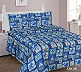 WPM Sailor Blue bedding set whale shark sea creatures boat print choose from Full/Twin comforter or bed sheets or window curtains panels for kids/girls/boys room (Full Sheets)