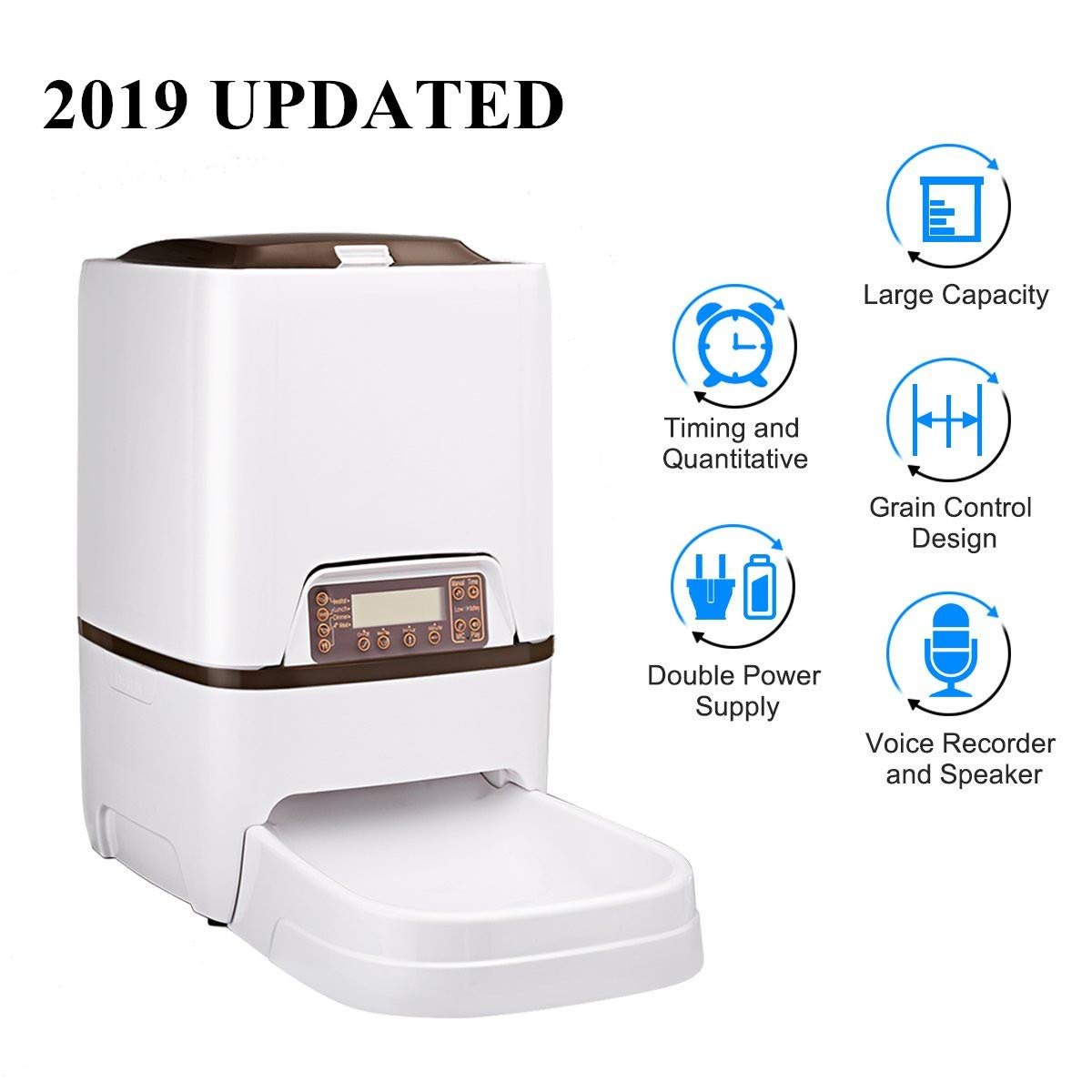 Docamor 6L Automatic Pet Feeder Dogs Cats Food Dispenser with Voice Recorder and Speaker,Timer Programmable,Infrared Sensor Detecting,LCD Display,Portion Control,Distribution Alarm Up to 4 Meals a Day by Docamor